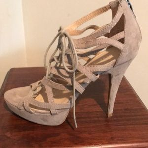 Chinese laundry taupe suede lace up platform heels